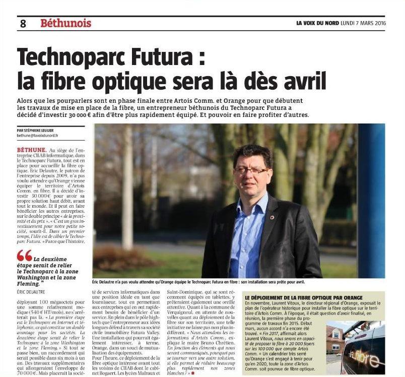 La fibre présente dans  le Technoparc Futura de Béthune